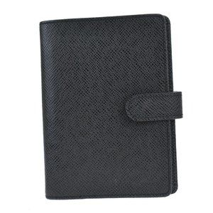 Auth LOUIS VUITTON Agenda PM Day Planner Cover Taiga Leather Black